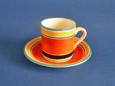 Susie Cooper Gray's Pottery Banded Pattern 7670 Coffee Can and Saucer c1928 #1 (Sold)